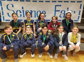 Group photo of FW Science Fair winners who advanced to the CW Area Science Fair