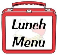 """A cartoon picture of a lunch pail that is labeled """"Lunch Menu"""" on the front."""