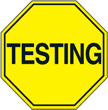 Yellow Testing Image in a stop sign shape