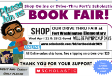 Image of a Book Fair Flyer from Scholastic with a picture of a student holding a book in their hands.