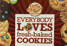 """Image of the front of a cookie dough flier that says, """"Stella's gourmet - Everybody Loves Cookies"""