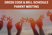 Image of hands holding up puzzle pieces with a title at the top that says DRESS CODE & BELL SCHEDULE PARENT MEETING.