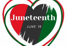 """Image of a red, green, and black heart with the words """"Juneteenth June 19"""" inside the heart."""