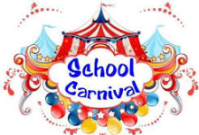Image of a colorful illustration of a School Carnival with a red and white tent.