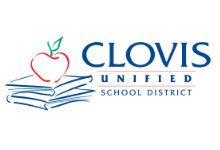 outline of a red apple on top of an outline of a blue stack of books with the with words Clovis Unified School District printed in blue on the right side