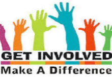 """Image of different colored hands with the message, """"GET INVOLVED Make A Difference"""""""