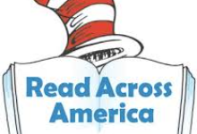 Image of an open book that says Read Across America with a Dr. Seuss hat on top.