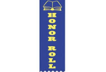 Image of a blue ribbon with an open book and the words HONOR ROLL in yellow printed on it.