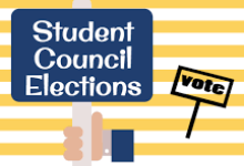 Cartoon hand holding a sign that says Student Council Elections with a small sign next to it that says vote