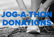 Image of a runner tying their shoes with the words JOG-A-THON written across it in blue.