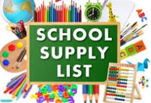 A chalk board that says School Supply list with school supplies surrounding it.