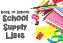 """Image of school supplies with text that says, """"Back to School Supply Lists"""""""