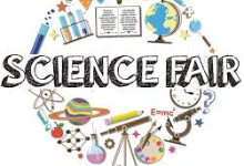 Image of a science fair logo with a variety of science tools around the logo