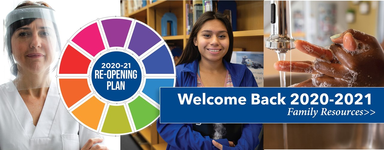 Image of medical personel wearing a facemask, a student in the library, someone washingt their hands, and a banner that says Welcome Back 2020-21 and 2020-21 Re-opening plan - Family Resourcesn
