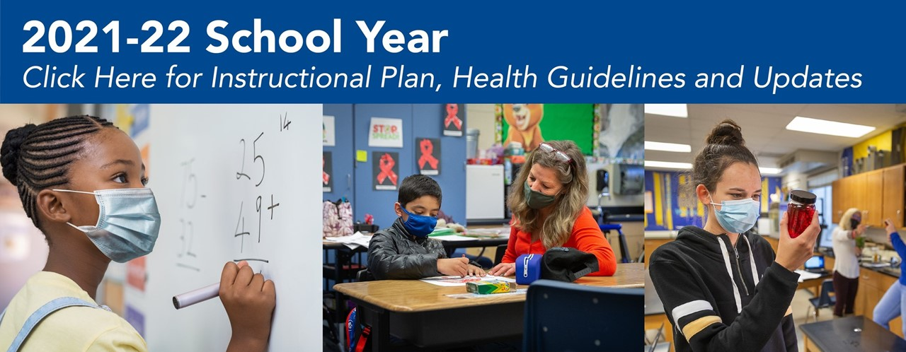 2021-22 school year banner with images of CUSD students in classrooms.